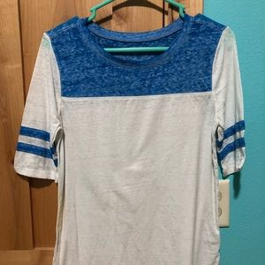 White and Blue Football Style T-shirt